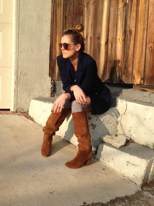 Navy Blazer, Boots & Socks