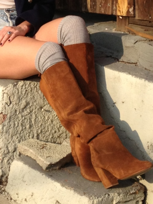 slouchy boots with socks