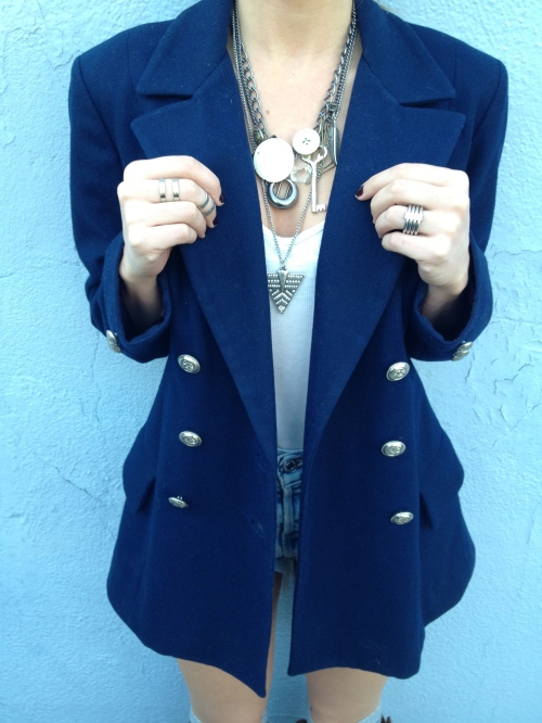 vintage pea coat & silver jewelry