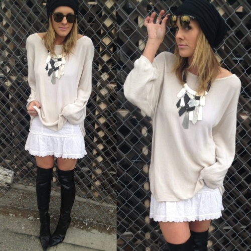 Statement necklace & over-the-knee boots