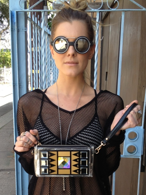 silver mirror lenses & art deco clutch