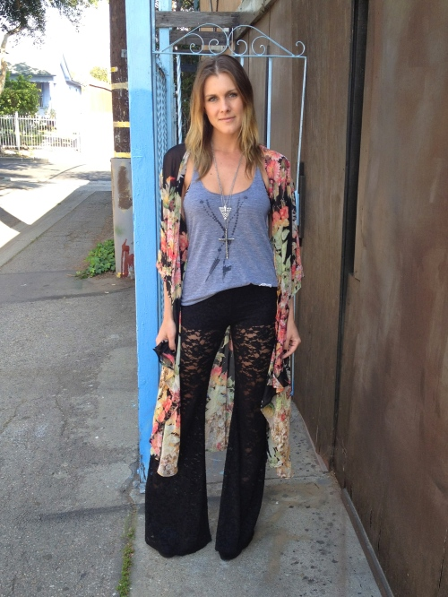 Floral Kimono and Lace Bell Bottoms