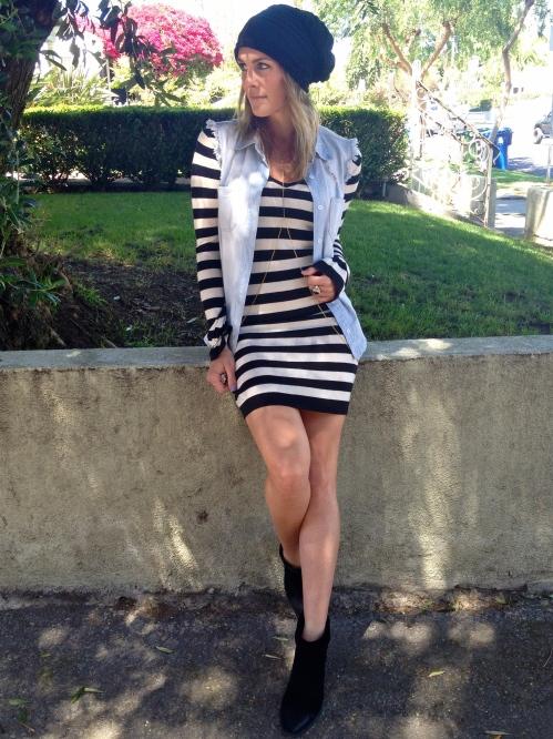 Striped dress Denim vest
