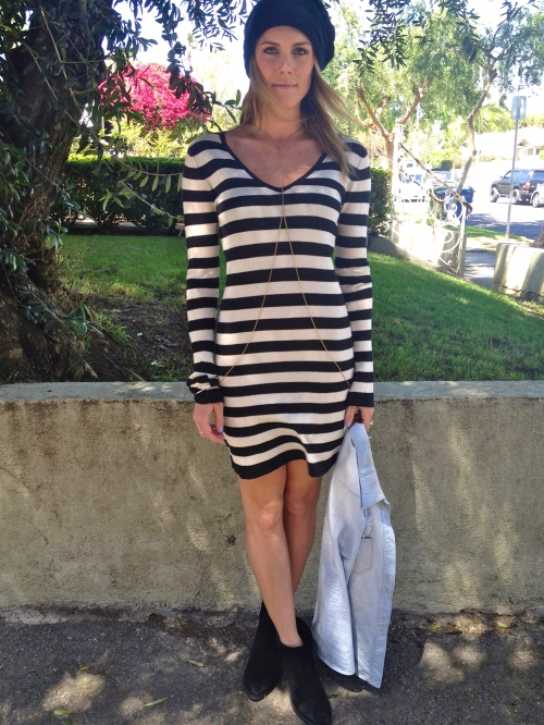 Striped dress with Body chain