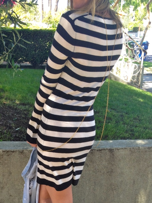 Striped dress with gold Body chain