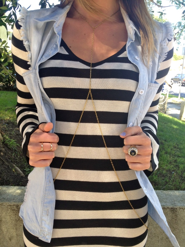 Stripes denim gold jewelry