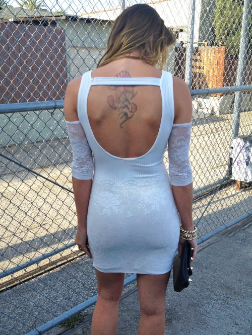 white dress with cutouts