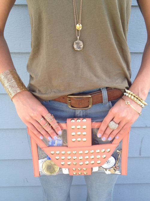 clear studded clutch