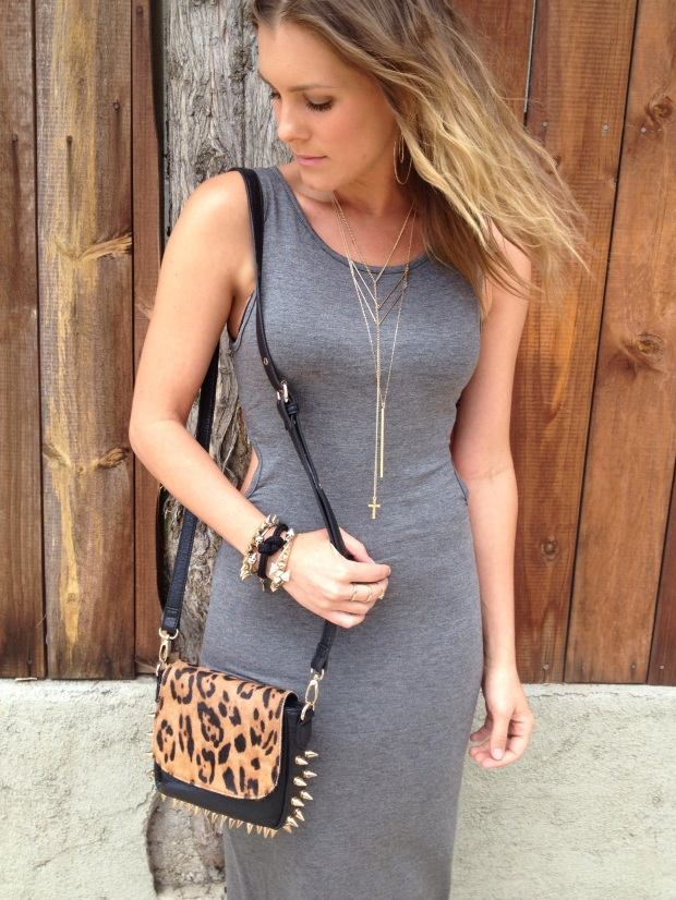 leopard spiked bag and gold jewelry