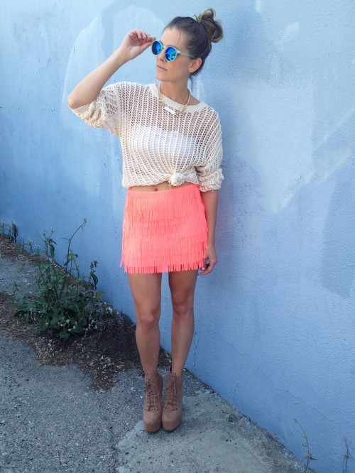 Neon fringe skirt & cream knit sweater